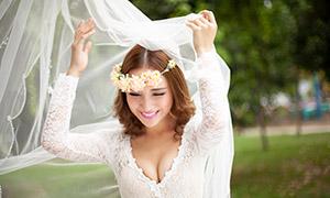 卷发造型美女性感婚纱摄影高清原片