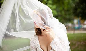 薄纱下的美女婚纱主题摄影高清原片
