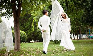 树林中草坪之上的恋人摄影高清原片