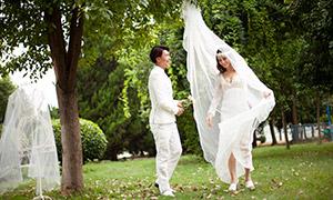 柔情密意白色恋人婚纱摄影高清原片