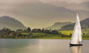 远山树木与湖上的帆船摄影高清图片