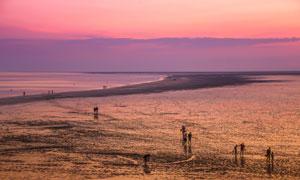 黄昏傍晚滩涂上的人群摄影高清图片