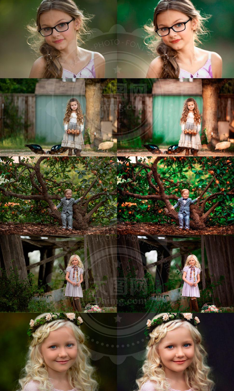GTG系列儿童照片甜美暖色效果PS动作