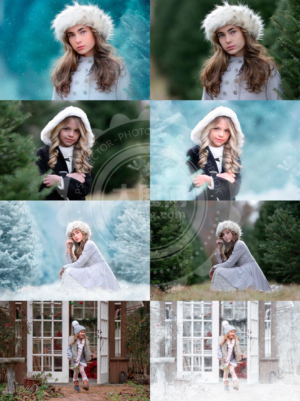 GIG系列儿童照片冬季唯美雪景PS动作