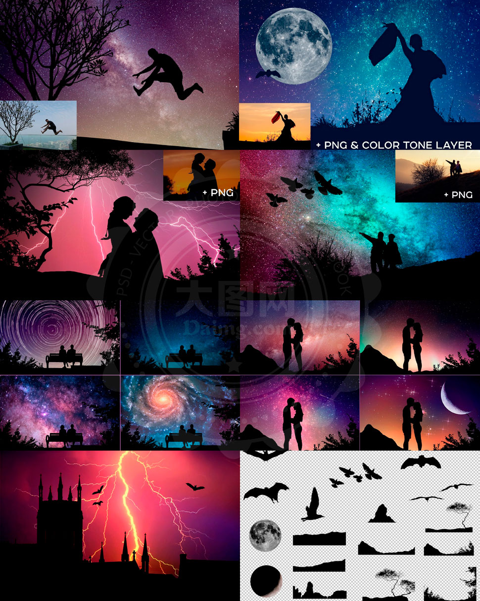 中文版照片添加夜空剪影效果PS动作