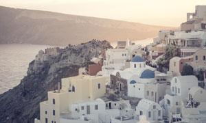 希腊锡拉岛上景观风光摄影高清图片
