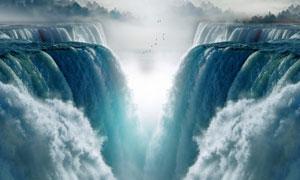 雄伟壮观大气磅礴瀑布摄影高清图片