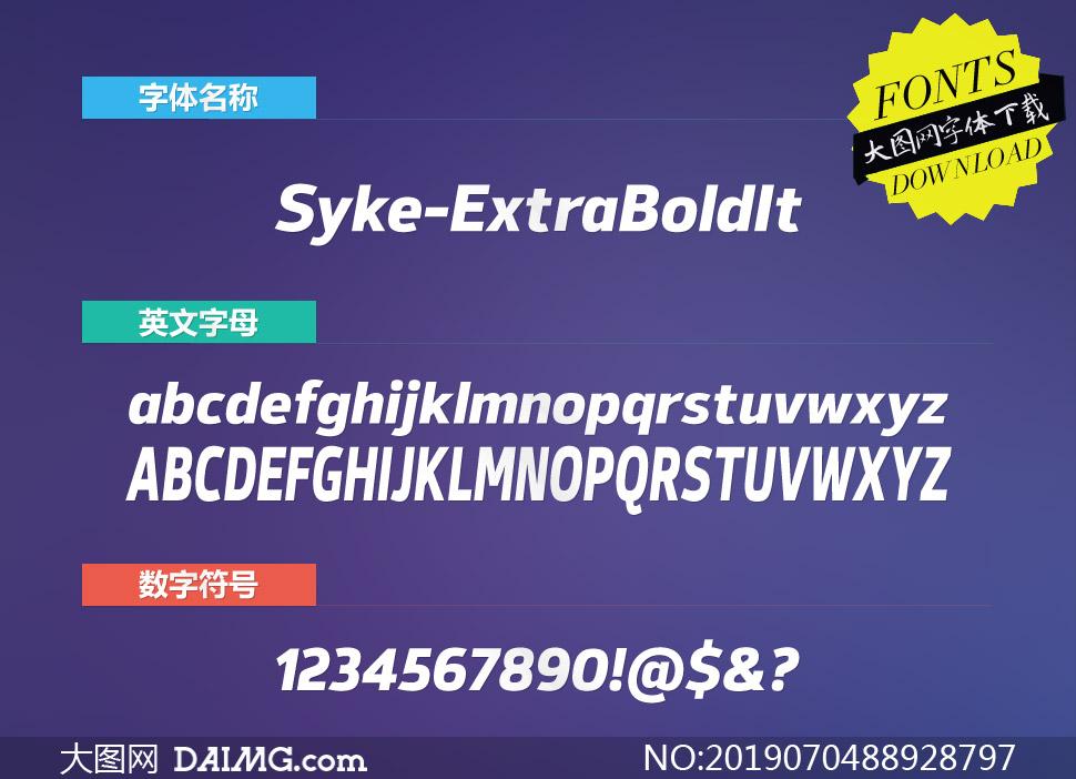 Syke-ExtraBoldItalic(英文字体)