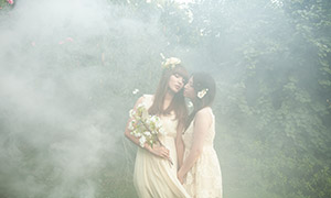 雾气中的闺蜜写真主题摄影高清原片