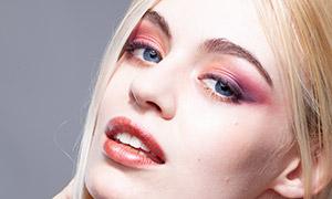 金发浓妆美女模特人物摄影原片素材