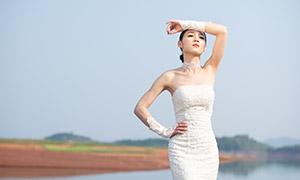 水边白色婚纱美女婚纱摄影高清原片