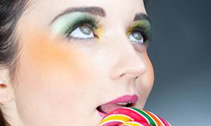 化浓妆的美女特写高清摄影原片素材
