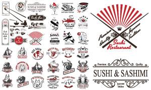 牛肉与寿司等手绘标签设计矢量素材