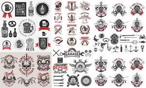 啤酒与捕鱼行业等标签设计矢量素材