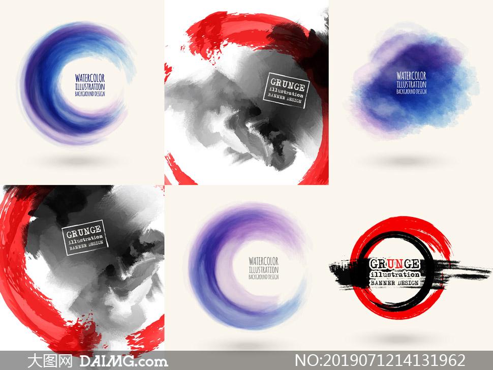 红色与黑白色的墨迹元素矢量素材V1
