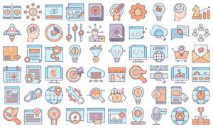 搜索引擎优化网页适用图标矢量素材