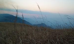 武功山山顶美丽的日出美景摄影图片