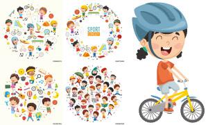 卡通儿童体育运动主题创意矢量素材