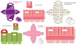 礼物盒包装展开效果设计矢量素材V01