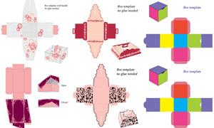 禮物盒包裝展開效果設計矢量素材V02