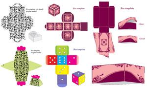 礼物盒包装展开效果设计矢量素材V03