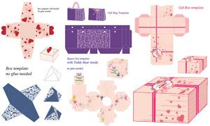 礼物盒包装展开效果设计矢量素材V04