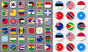 长阴影效果国旗图标设计矢量素材V1