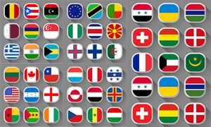 长阴影效果国旗图标设计矢量素材V2