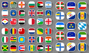 长阴影效果国旗图标设计矢量素材V3