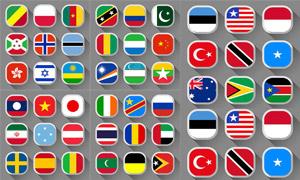 长阴影效果国旗图标设计矢量素材V4
