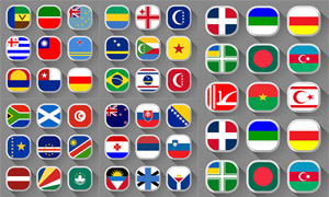 长阴影效果国旗图标设计矢量素材V5