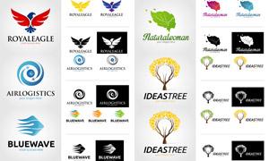 树木与老鹰等元素标志设计矢量素材