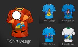 T恤上的卡通人物图案创意矢量素材