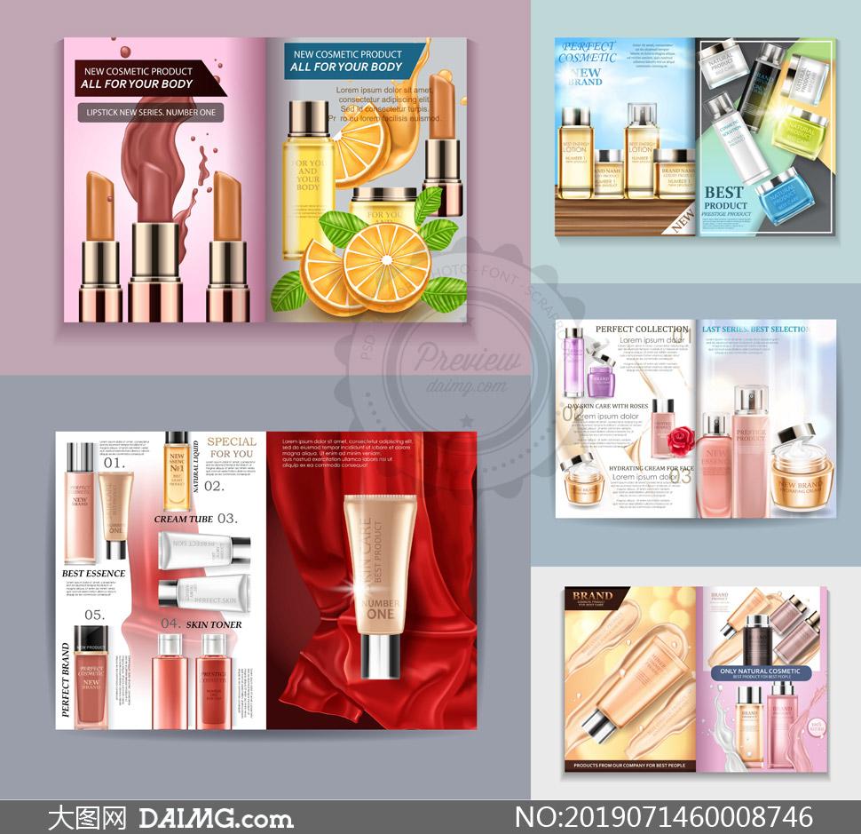 护肤品化妆品广告宣传画册矢量素材