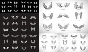 姿態各異天使翅膀設計元素矢量素材