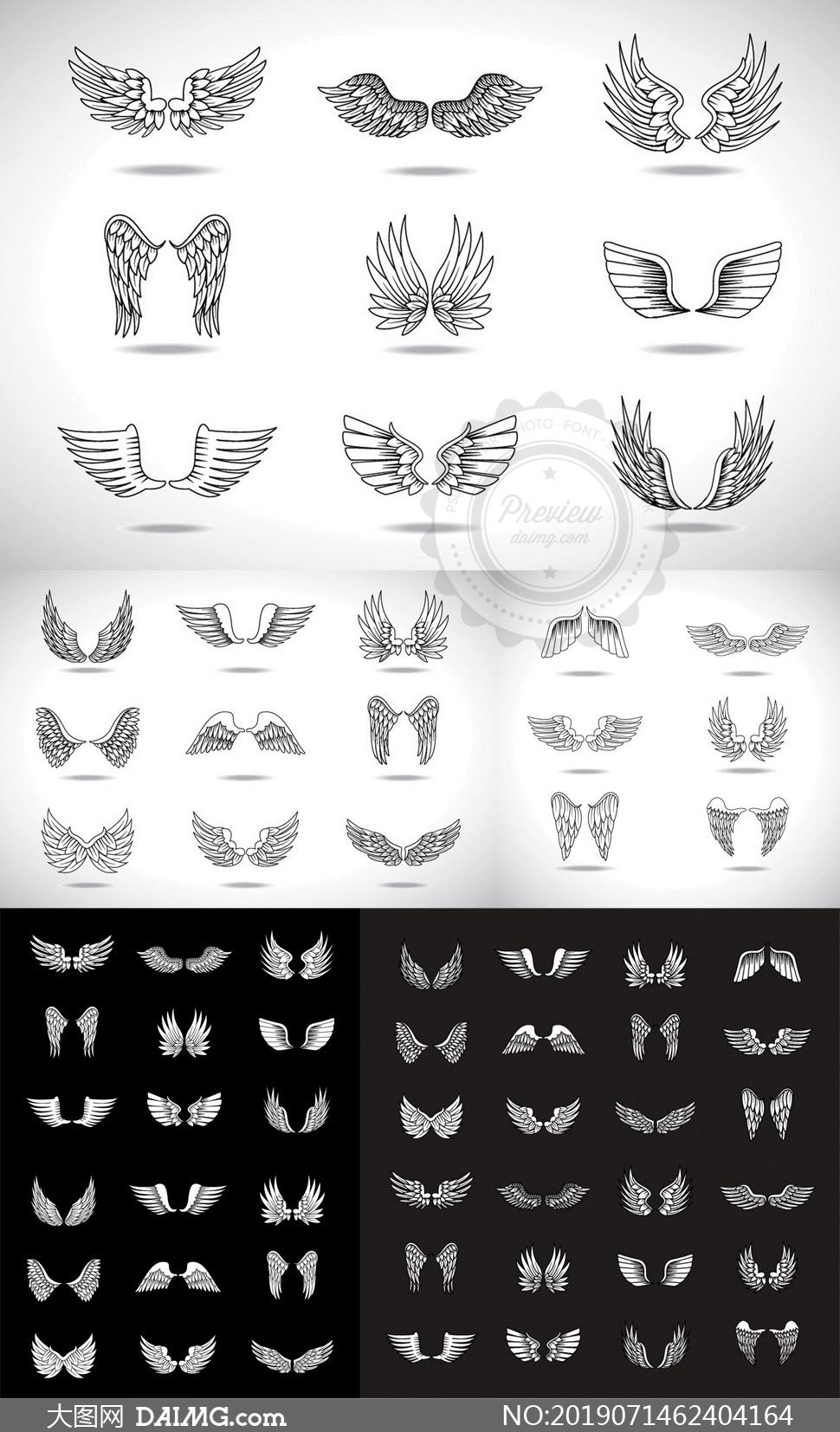 姿态各异天使翅膀设计元素矢量素材