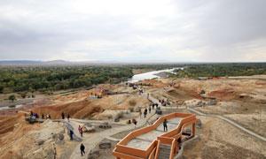新疆丹霞风貌和树林摄影图片