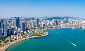 青岛西海岸城市风光全景摄影图片