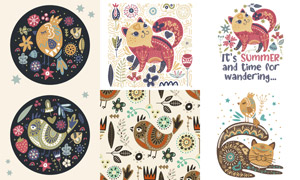 猫咪与花鸟等插画创意设计矢量素材