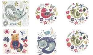 手繪花鳥與貓咪等插畫創意矢量素材