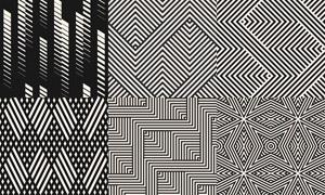 黑白無縫平鋪幾何圖案設計矢量素材