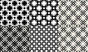黑白幾何圖案無縫平鋪背景矢量素材