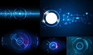 藍色光線元素科技背景創意矢量素材