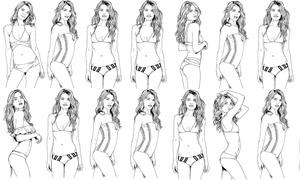 手绘比基尼泳装美女人物矢量素材V01