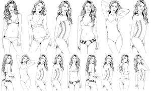 手绘比基尼泳装美女人物矢量素材V02