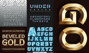 金色的立体字与冰块等字体创意素材