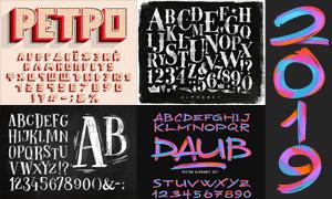 手绘英文字母与立体字创意矢量素材