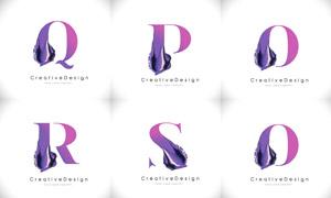 質感顏料裝飾的字母創意矢量素材V01