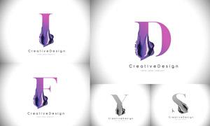 質感顏料裝飾的字母創意矢量素材V02