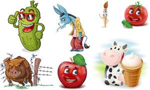 奶牛與蘋果等卡通創意設計矢量素材